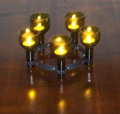 Wine Bottle Candle Chandelier Centerpiece