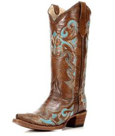Circle G Women's Brown and Turquoise Side Embroidered Cowgirl Boots - L5193