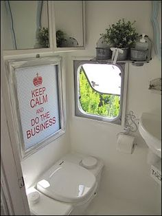 cute little camper bathroom ~ love the keep calm sign ~ Sea Cottage: cottage camper