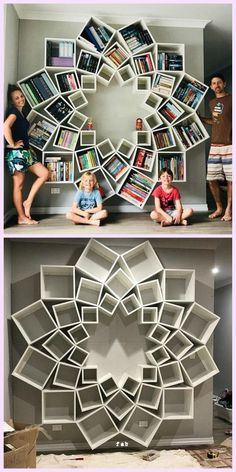 DIY Mandala Bookshelf by Jessica and Sinclair - # Book .-DIY Mandala Bücherregal von Jessica und Sinclair – # Bücherregal … – DIY Mandala Bookshelf by Jessica and Sinclair – # Bookshelf … - Diy Home Decor, Room Decor, Decorations For Home, Christmas Decorations, Wall Decor, Christmas Cards, Diy Casa, Home Organization, Organizing Ideas