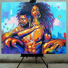 Likes, 129 Comments - Dope Black Art ( on . Black Love Art, Black Girl Art, Art Girl, African American Art, African Art, African Women, Graffiti, Street Art, Arte Black