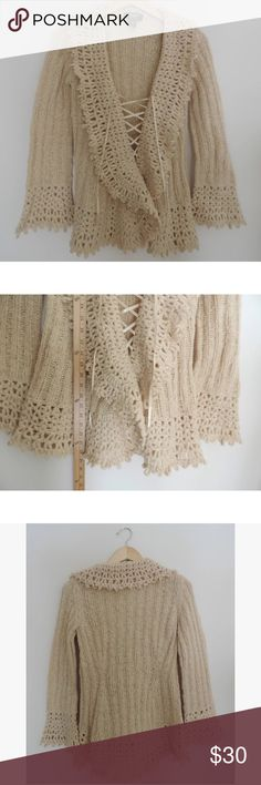 Express hand knit tan oversized cardigan sweater Perfect condition. Check out my closet to bundle & save! Express Sweaters Cardigans