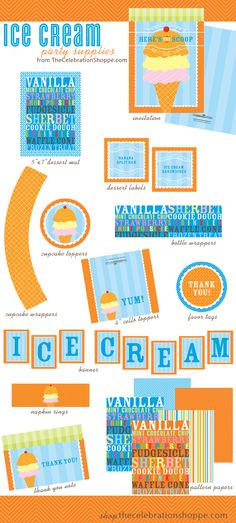 Ice Cream Social Party Supplies {Here's the Scoop!} | Kim Byers, TheCelebrationShoppe.com #party #icecream #orangeblue