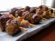 feel like a manly lunch?  skewers of grilled chicken skin and homemade japanese-style meatballs might be just what you are looking for.