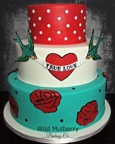 Rockabilly Wedding Cake  Wild Mulberry Baking Co., Bakery, Denver Colorado