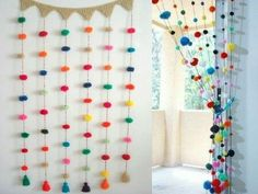 Crochet and pompoms Diy And Crafts, Crafts For Kids, Arts And Crafts, Craft Projects, Projects To Try, Diy Y Manualidades, Pom Pom Crafts, Diy Room Decor, Room Decorations