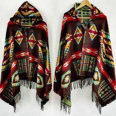 Tribal Fringe Bohemian Shawl Poncho Hoodies Jacket with tassels