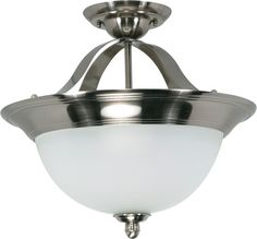 Dome Semi Flush Ceiling Light Fixture in Smoked Nickel Finish