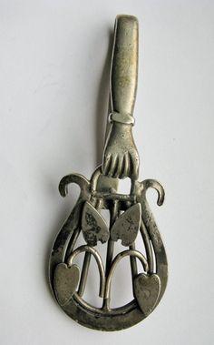 Antique Handmade Chatelaine Pendant Heart Hand Harp by bayatelier, $74.00