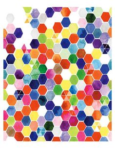"Handmade Watercolor Art Hexagons Original Painting- Wall Art Print 8"" x10""- Original Watercolor"