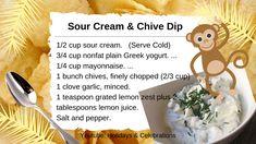 Holiday Dates, Plain Greek Yogurt, Recipe Cards, Mayonnaise, Sour Cream, Celebrations, Garlic, Lemon, Holidays