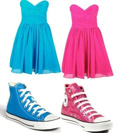 Accept we should wear opposite color shoes so if I wear the blue dress I would wear the pink or other colored converse @vraimcclung