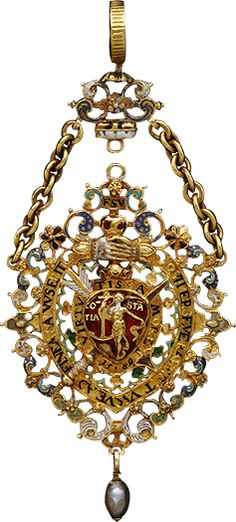 Badge of the Order of the Golden Saxony Society Knights, 16th cent. Presented to Brandenburg Elector Johann George (1525-98) and King Elector of Saxony, was found in the tomb of the latter in the Cathedral of Berlin in 1874. Become one of the Hohenzollern royal collections to be moved from Schloss-Monbijuu (catalog #34930) in Berlin in 1943. It was sold by Kronprinz William in 1945.