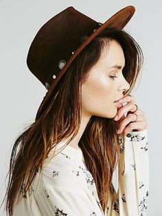 This buffalo leather hat is perfect for fall.
