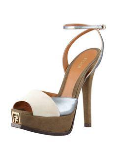 Fendista Colorblock Ankle-Wrap Sandal by Fendi at Bergdorf Goodman.