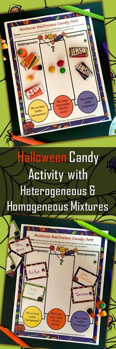 Heterogeneous and Homogeneous Mixtures, Science, Halloween, Activity, Middle School, Matter, Physical Science