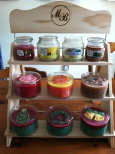 Mia Bella candles, Clean candles, signature scents, small jars, large jars, get display rack free with our vendor program Tea Accessories, Wax, Cleaning, Candles, Food, Display, Furniture, Ideas, Gourmet