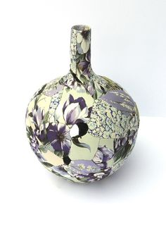 Zoe Hillyard ...Ceramic Patchwork - vintage fabric pieces   Ceramic Patchwork