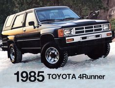 check out this #TBT eye candy! The rugged and iconic 1985 Toyota 4Runner. This first gen SUV set the standard early on. How many of you were around when this one hit the streets? #4Runner #Toyota #19854Runner #classic #SUV #Throwback