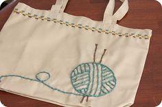 yarn embroidered knitting bag