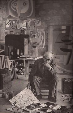 LE CORBUSIER by Henri Cartier-Bresson - Interesting to see with what art and furnishings he surrounded himself.