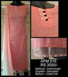 Indian peach tunic w/ unusual frog closure Chudi Neck Designs, Salwar Neck Designs, Churidar Designs, Neck Designs For Suits, Kurta Neck Design, Neckline Designs, Dress Neck Designs, Kurta Designs Women, Sleeve Designs