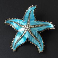 Vinatge Norwegian Sterling Silver Guilloche Enamel Starfish Brooch Ivar Holt Norway