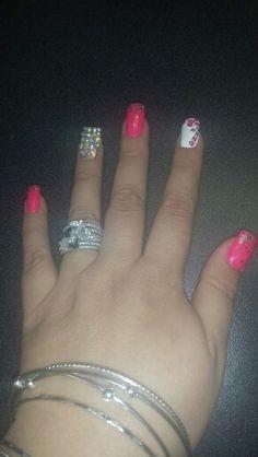 My own nails - hot pink , cheetah , diamonds,  crystals,  solar nails