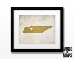 Tennessee - Home Town Love - Customizable Art Print 11x14. $18.00, via Etsy.