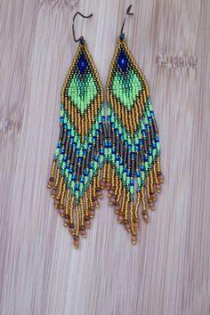 Long Seed Bead Earrings Beaded Green Blue by CreationsbyWhiteWolf