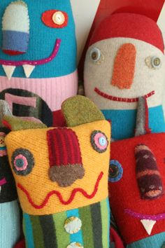 …pillow-like art doll wrought from found and recycled fabrics and wools, festive and fun with trims and detailing by artist Valerie Weberpal, this and more of her handmade fun available at http://www.earthangelsstudios.com/Valerie-Weberpal--C91.aspx