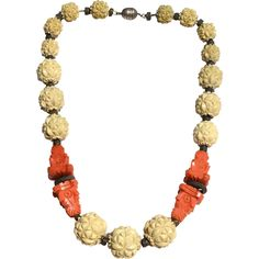 Early Art Deco Made in FRANCE Heavy Carved Cream and Coral Galalith Bead Necklace