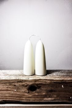 White Beeswax Stubby Candles, Pair