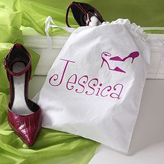 Such a creative and original bridesmaid gift ... it's an adorable shoe bag that you can have personalized with their name in 1 of 8 colors ... great way for them to carry their shoes throughout the big day! ... It would also make for an adorable picture if all the girls held theirs up while getting their hair and makeup done!