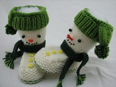 Knitting baby boots Snowman himself - DIY ♥