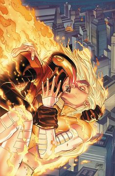 Emma Frost (as White Phoenix) and Scott Summers