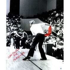 Bob Knight Signed Throwing Chair Vertical B/W w/ Color Accents 20x24 Photo w/ 'Catch this one Ref' Insc. (Signed in Red)