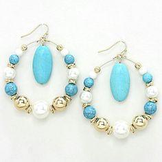 Howlite Pearl Hoop Dangle Earrings