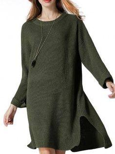 Loose Women Solid Long Sleeve Irregular Hem Split Pullover Sweater