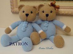 Blue y Celeste, Patrón Amigurumi en PDF # Osito Amigurumi # Amigurumis # Bear Pattern #Amigurumi Pattern # osito a crochet # Me encontrarás en: www.etsy.com/es/listing/181218318/blue-y-celeste-patron-amigurumi-en-pdf?ref=shop_home_active_6 Y en: ositosdulcess@gmail.com