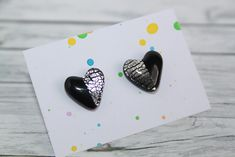 stud earrings, made of polymer clay with resin on the top. It is very light and not fragile. Black Stud Earrings, Black Silver, Polymer Clay, Etsy Seller, Resin, Top, Accessories, Crop Shirt, Shirts