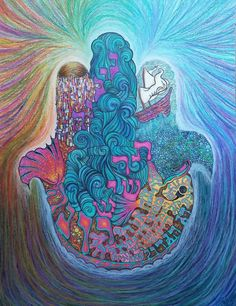 """Brooke Sendele (American) """"Jonah in the Whale""""  ~ Ink, colored pencils, chalk pastels, and oil pastels on bristol board  ~  Artist's Statement: This piece is a Hamsa-shaped depiction of the book of Jonah, in which the prophet Jonah tries to flee G‑d's command and is swallowed by a whale."""