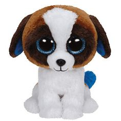 NEW-Ty-Beanie-Boos-6-DUKE-Brown-White-Dog