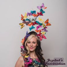 Kaleidoscope – The largest butterfly headpiece yet! Boasting more than FORTY fluttering butterflies in all shapes, sizes, and colors. This cute, not to mention easy-to-balance, headwear will definitely catch the eye of everyone who has the pleasure to gaze upon it when you unearth your inner