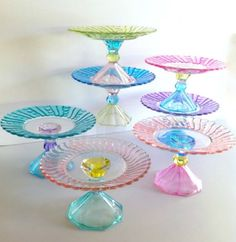 MarshHome Hand Painted Pastel Cupcake Stand.  Can this be made with martini glasses upside down and glass plate.  What kind of paint?  water color????