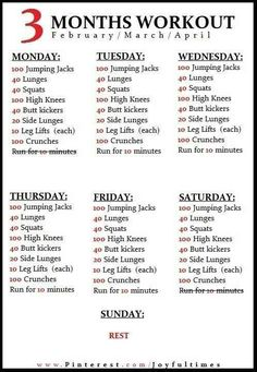 3 month exercise program because summer is so close!! :)