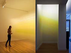 A 2010 installation by artist Anne Lindberg shown at the Nerman Museum of Contemporary Art in Kansas. Lindberg used thousands of strands of Egyptian cotton thread suspended between staples to create this glowing, atmospheric space. See a video of the installation here. (via designspiration)