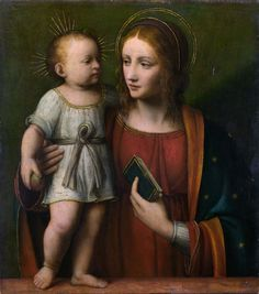 Workshop of Bernardino Luini. Madonna with Child (early century) (London, Nat. Blessed Mother Mary, Divine Mother, Blessed Virgin Mary, Religious Images, Religious Icons, Religious Art, Madonna Und Kind, Madonna And Child, Queen Of Heaven