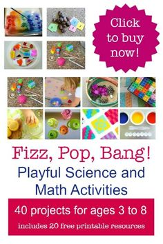 FIZZ, POP, BANG! 40 Playful Science and Math activities, experiments, recipes and play ideas.  20 free printables and links to 80 additional activities for kids 3-8!  All for $7.99 until Nov. 9/14.