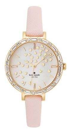 Kate Spade New York 'metro' Crystal Bezel Heart Dial Watch -Dainty hearts waft across the pretty mother-of-pearl dial of a crystal-framed watch set on a slender, scratch-resistant leather strap. - at Nordstrom. Rubin Rose, Ring Armband, Elegante Y Chic, Jewelry Accessories, Fashion Accessories, Fashion Jewelry, Kate Spade Watch, Diamond Are A Girls Best Friend, Girly Things